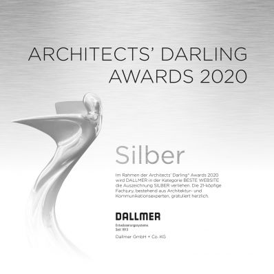 Silver for website: Dallmer receives ARCHITECTS' DARLING 2020 award