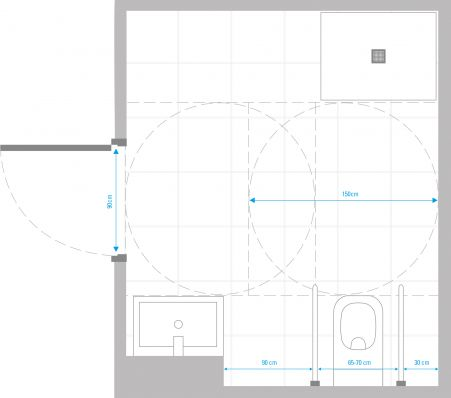 Sample layout of a wheelchair-accessible bathroom
